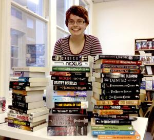 Photo of the Bibliophibian surrounded by books