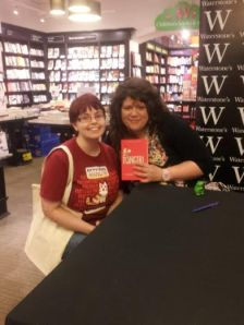 Photo of me and my dorky grin, with author Rainbow Rowell
