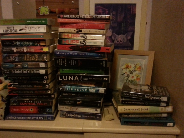 Photo of my library shelf/stack/avalanche
